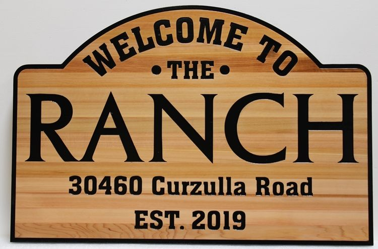 "O24096 -  Rustic Western Red Cedar ""Welcome"" and Address Sign for ""The Ranch"""