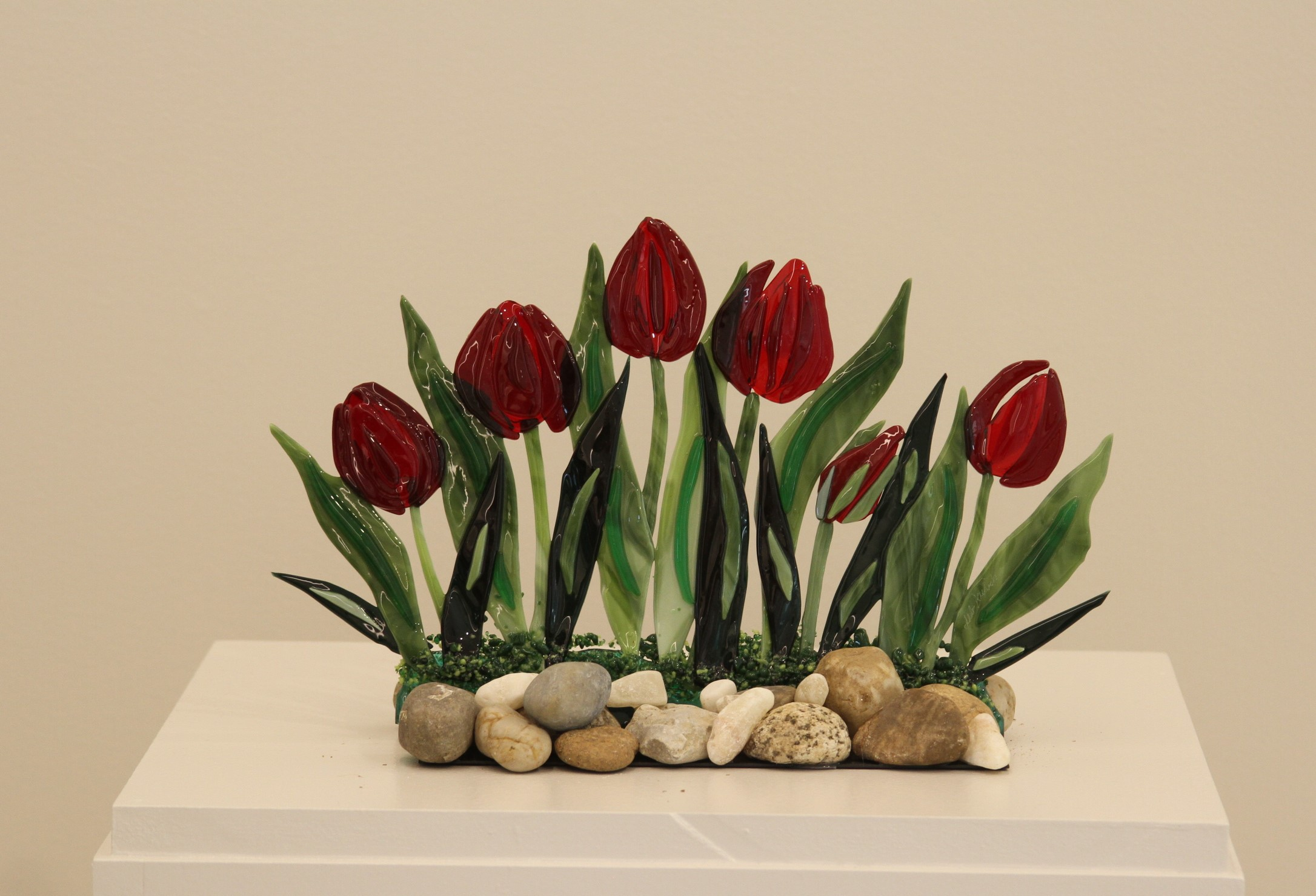 Red Tulips on the Rocks