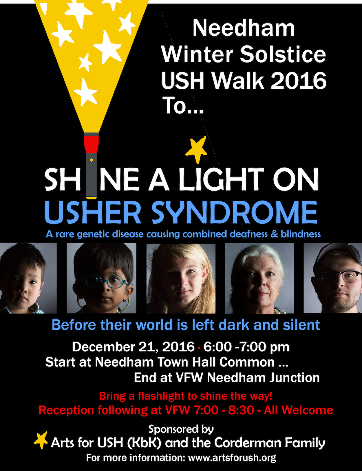 Flyer Image: Needham Winter Solstice USH Walk to Shine a Light on Usher Syndrome, a rare genetic disease causing combined deafness & blindness before their world is left dark and silent. Dec 21, 2016, 6-7pm. Start at Needham Town Hall Common, end at VFW N