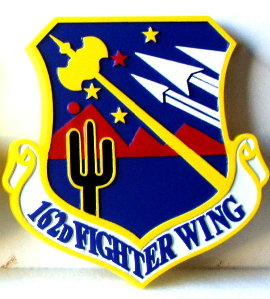 V31591 - Carved Wooden Wall Plaque of the Shield and Crest of the 162nd Fighter Wing, USAF