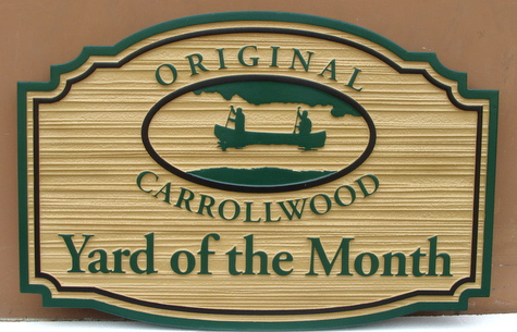 KA20909 - Carved Yard-of-the-Month Sign with Canoe on Lake Logo