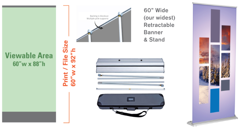 """60"""" Retractable Banner and Stand"""