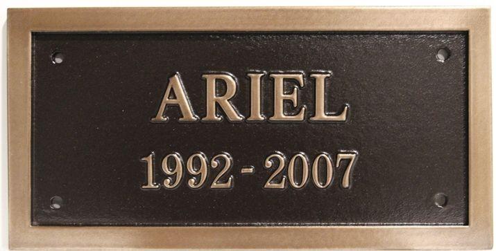 M7072 - 2.5-D Raised Relief Bronze-Plated Memorial Plaque