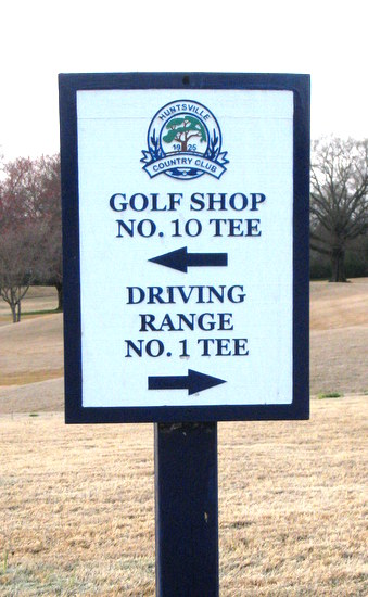 E14221 - Carved and Sandblasted HDU Wayfinding Sign for the Huntsville Country Club, with Logo