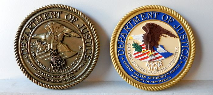 U30188 - Two Department of Justice  Carved 3-D  Wall Plaque, Bronze and Full-Color