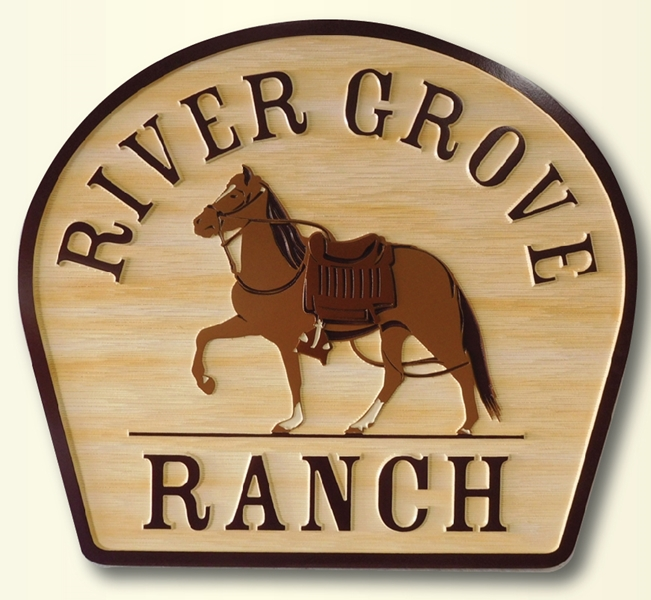 "P25233 - Carved and Sandblasted HDU Sign for the  ""River Grove Ranch"" with   a Horse with Tack as Artwork"
