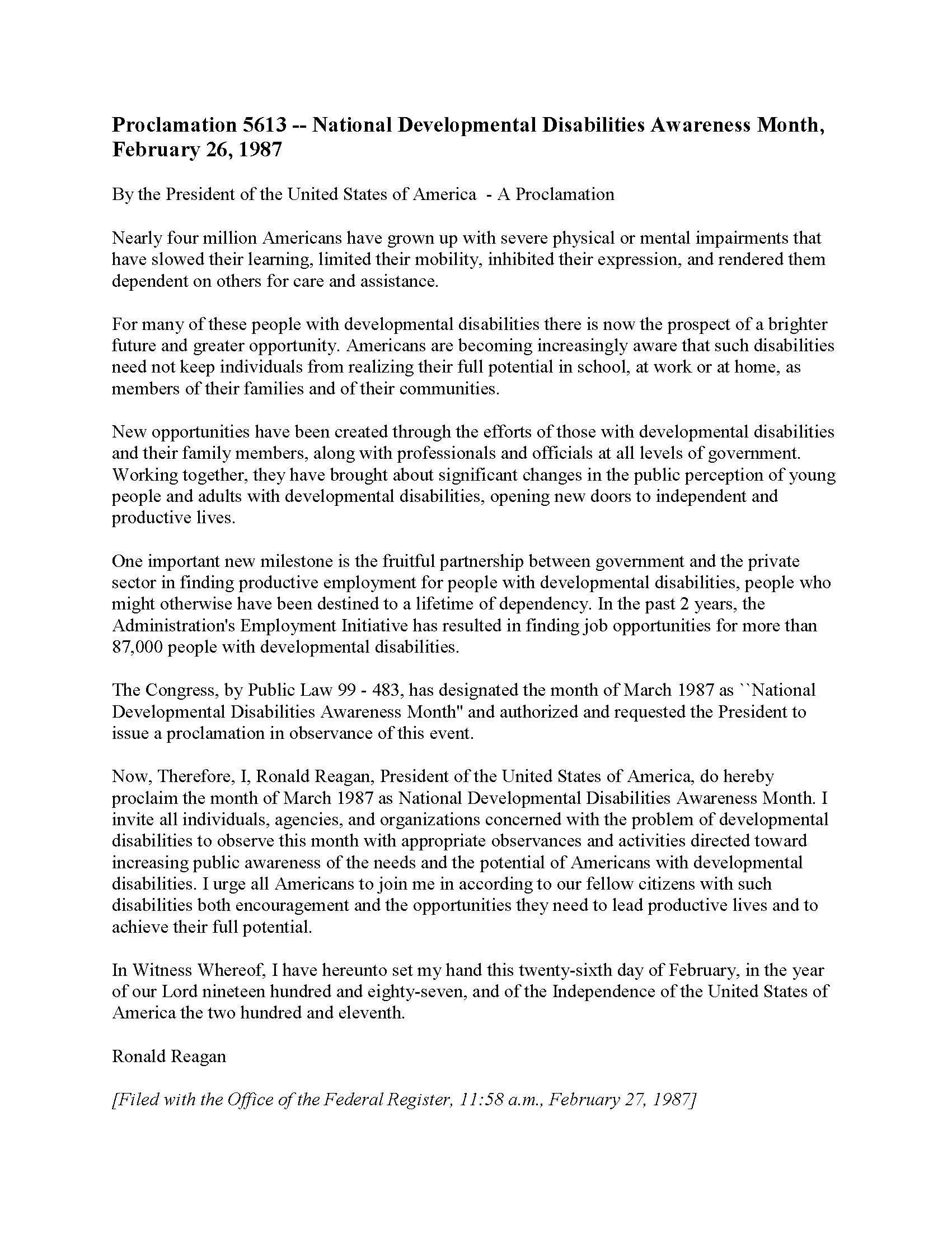 Original Proclamation February 26, 1987 - National Developmental Disabilities Awareness Month