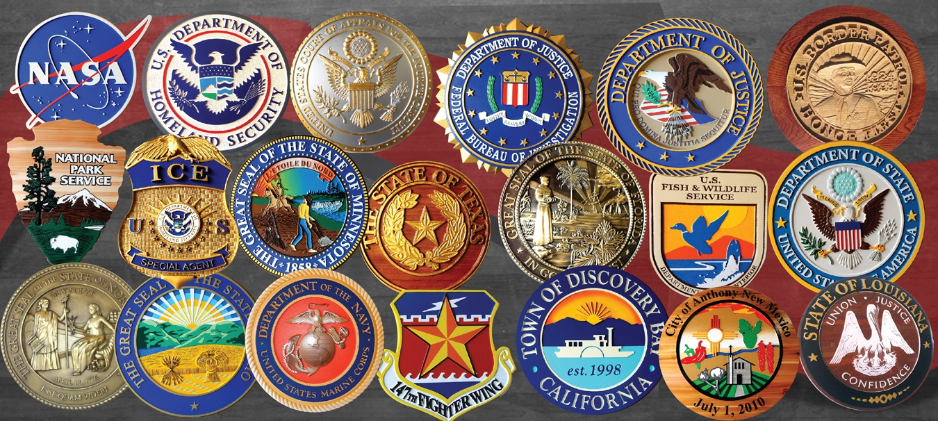 federal, State, City, County and Miltary Wall Plaques of Seals and Logos