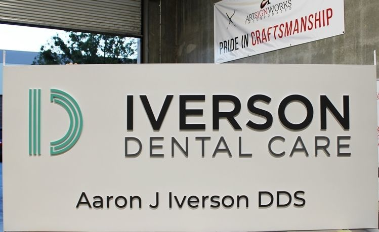 "BA11636 - Carved HDU Entrance Office Sign for ""Iverson Dental Care"