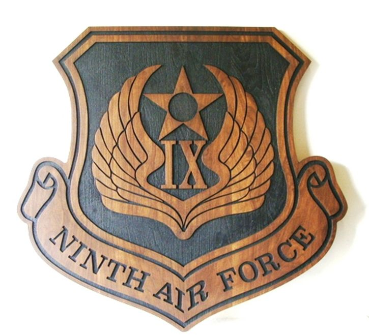 LP-1540 - Carved Plaque of the Shield Crest of the Ninth Air Force, Mahogany Wood