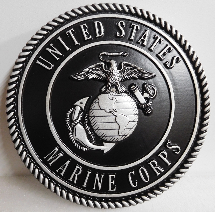 KP-1140  - Carved Emblem of the US Marine Corps ,3D Painted Metallic Silver and Hand-rubbed Black