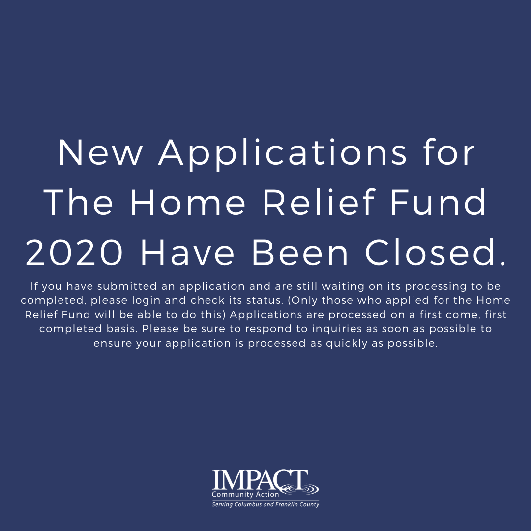 New Applications for the Home Relief Fund 2020 Have Been Closed
