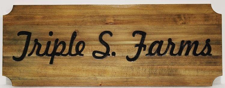 O24935 - Engraved Cedar Wood Entrance Sign for Triple S Farms