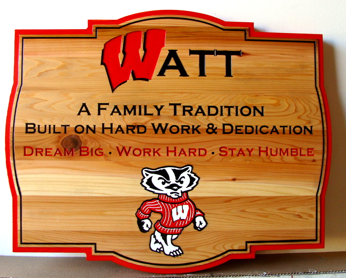 "SB28983 -  Carved  Engraved Cedar Wood Company Wall Plaque ""Watt - A Family Tradition""  and the Cartoon of a Fox as Artwork"