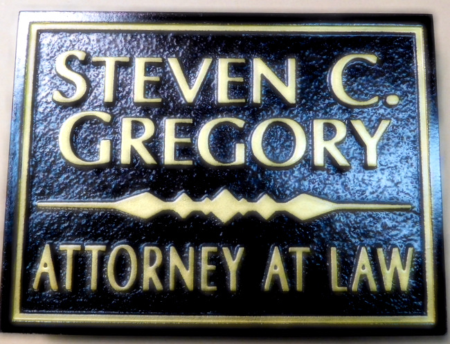 A10335 -  Carved Black & Gold Attorney-At-Law Sign