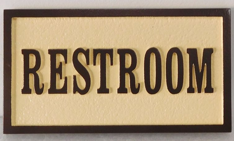 """KA20629 - Carved """"Restroom"""" Sign, with Raised Letters and Border"""