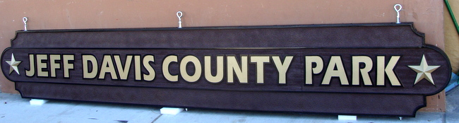 G16251 - Carved  Sign for County Park with 3D Stars