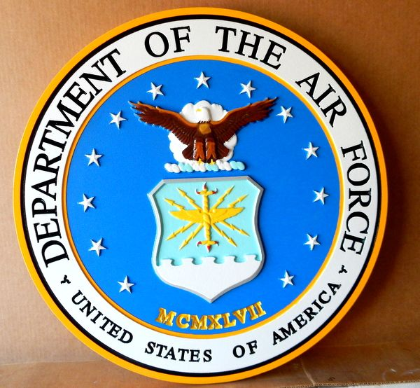 V31505 – Carved 3-D Wall Plaque of the Seal of the Department of the Air Force, US (close-up)