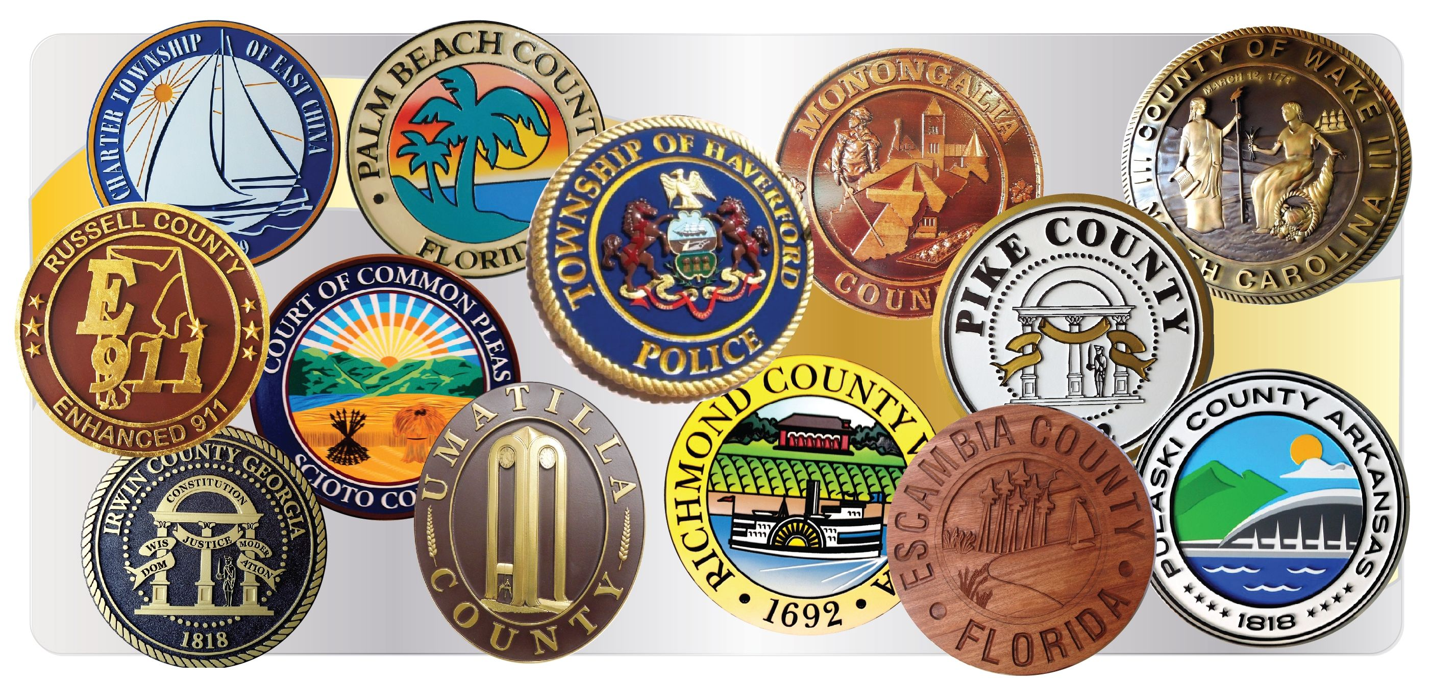 all countys available county plaque on aluminum or steel sheet