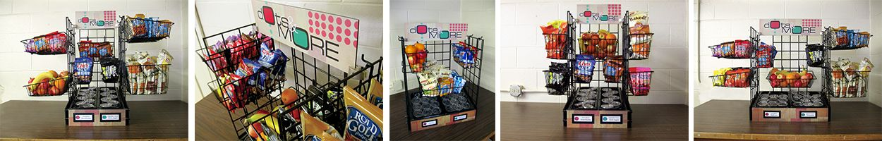 5 images of school food holder with baskets, custom signs, serving line solution for smart snack