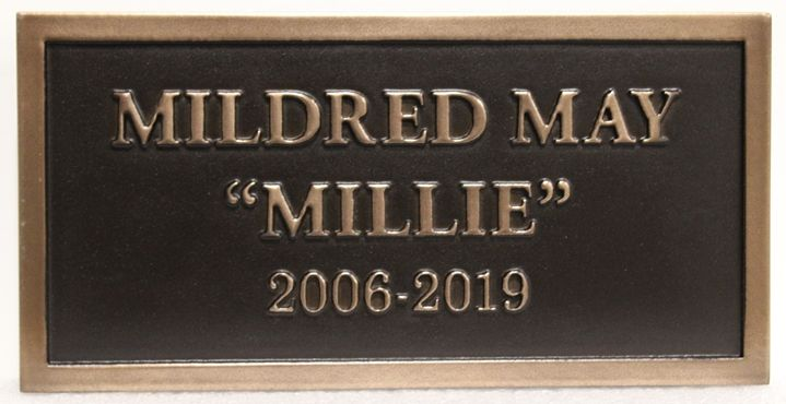 """GC16540 -  Bronze Wall or Gravestone Plaque Memorializing Mildred May """"Millie"""""""