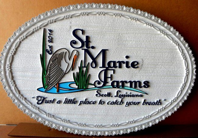 O24876 - St. Marie Farms Entrance Sign with Stork