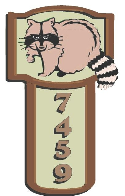 M22922 - Design of a  HDU T-Shaped Cabin Address Sign with a Carved Raccoon