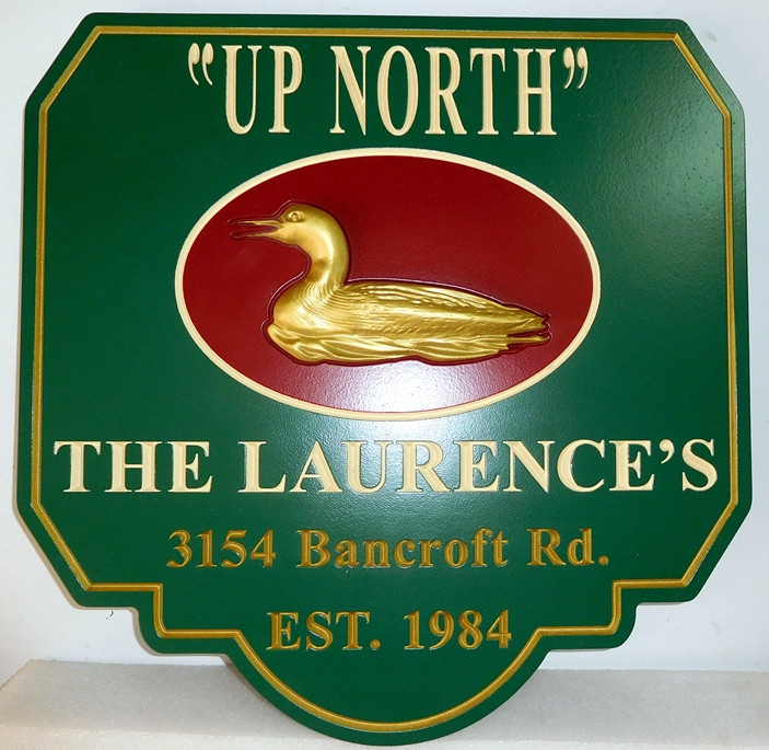M22703 - Lake House Sign with 3-D Carved Mallard Duck, with 24K Gold Leaf Gilding