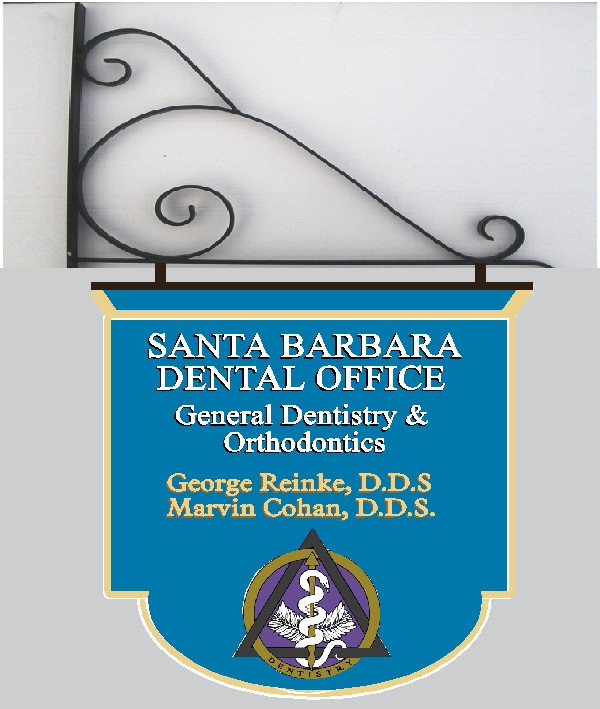 BA11583 – Hanging Dentist Sign with Carved Dentistry Insignia.