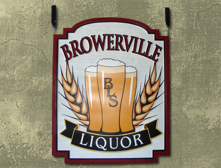"RB27558 - Carved and Sandblasted 3-D ""Broweville Liquor""  Sign for Pub, with Glasses of Beer as Artwork"