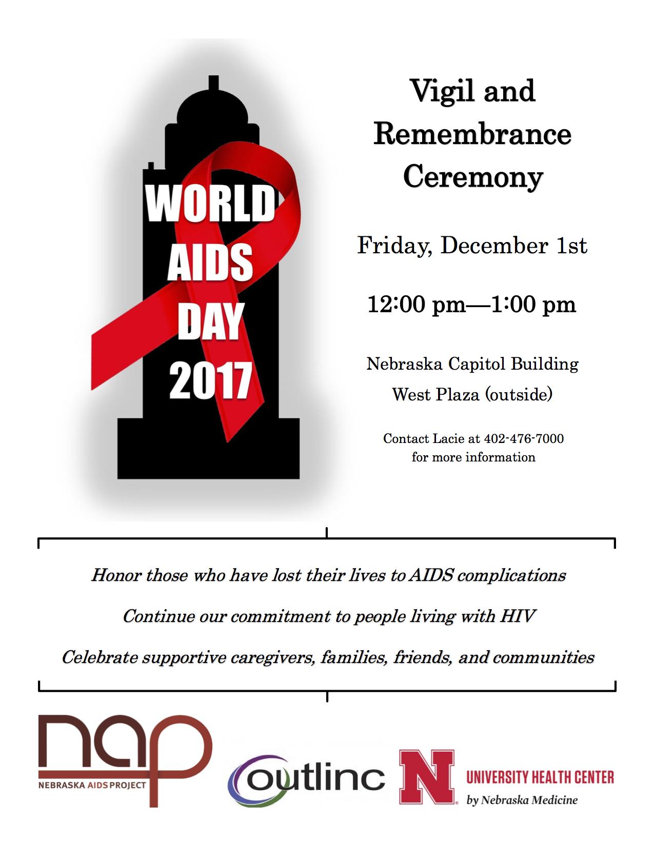 World Aids Day 2017 Vigil & Remembrance Ceremony