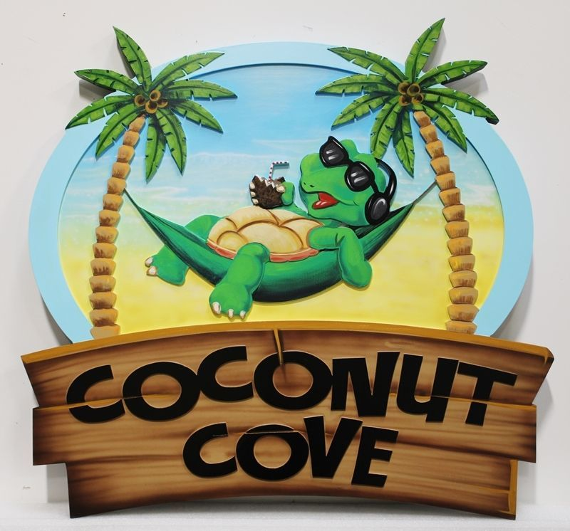 "L21055 -  Carved 2.5-D Multi-level Relief HDU Beach House Name Sign ""Coconut Grove""m with Turtle in Hammock between Two Palm Trees"