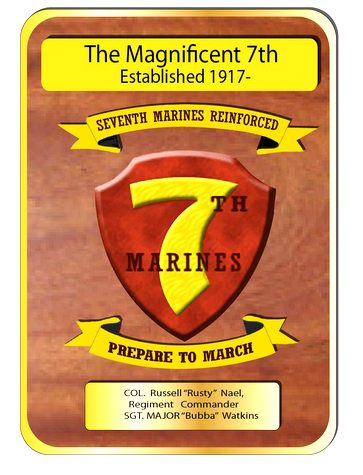 WM1270 - US Marine Corps Command Plaque, 7th Marines,  Personalized,  2.5-D Natural  Mahogany