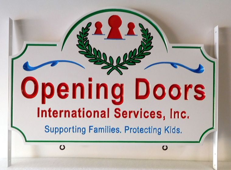 """SA28804 - Engraved HDU Sign for the """"Opening Doors International Services, Inc."""", with Wreath and Keyholes"""