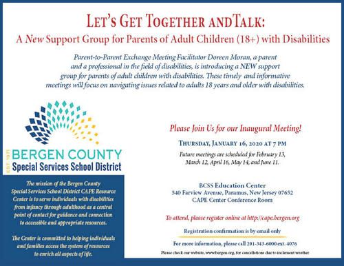 Parent Support Group With Children 18+ with Developmental Disabilities (Bergen County)