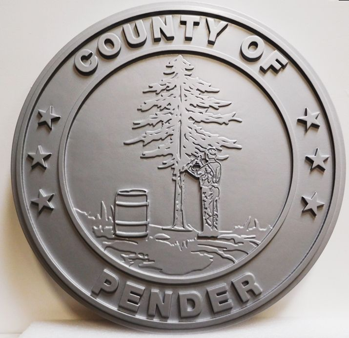 CP-1430 - Carved  Plaque of the Seal of the County of Pender, North Carolina, 2.5-D, Painted Gray