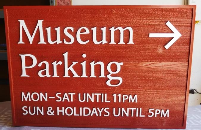 F15931 - Carved Cedar Museum Parking  Sign, 2.5-D