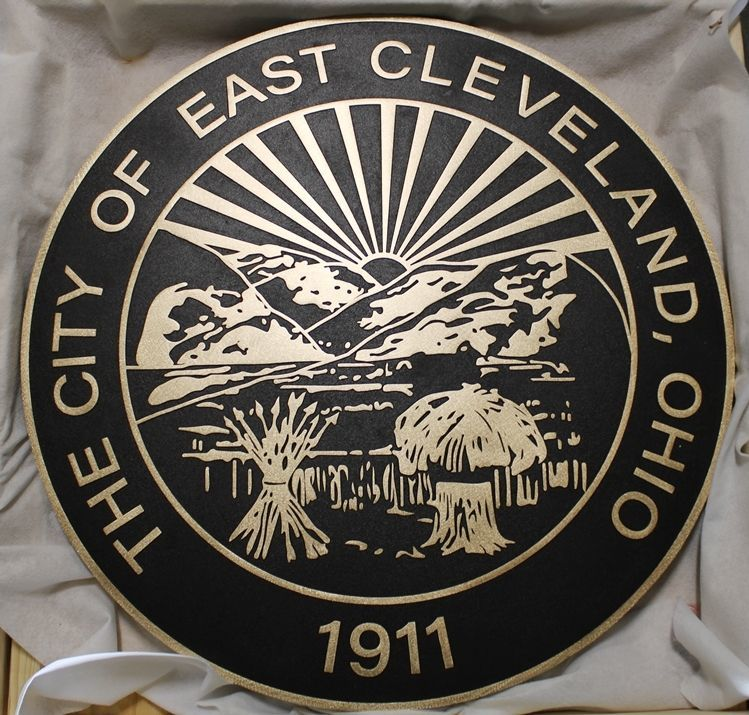 DP- Carved 2.5-d Brass-Plated HDU Plaque of the Seal of the City of East Cleveland, Ohio