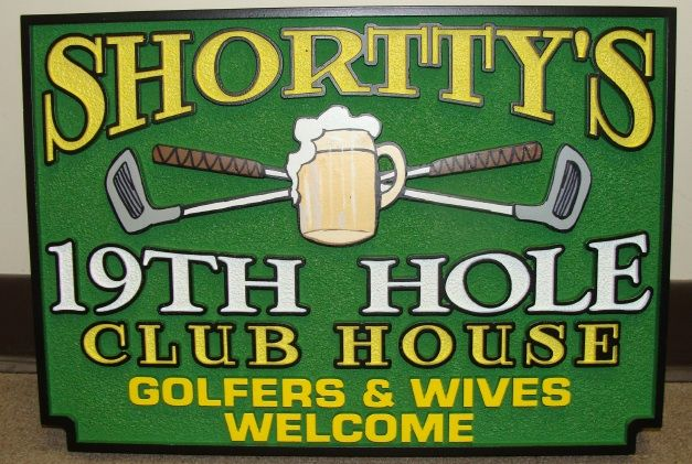"E14620 - ""Shortty's"" Nineteeth Hole Clubhouse Golf Sign, Carved in 2.5D Raised Outline Relief"