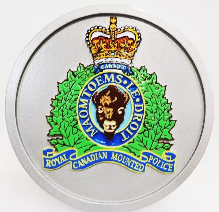 EP-1460- Carved Plaque of  the Crest of Royal Canadian Mounted Police,   2.5-D  Outline Relief, Artist Painted