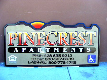 K20102 - Pinecrest Apartment Carved Wood Entrance Sign