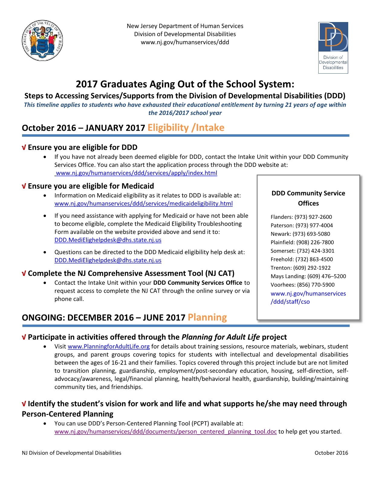 2017 Graduates Aging Out of the School System Timeline