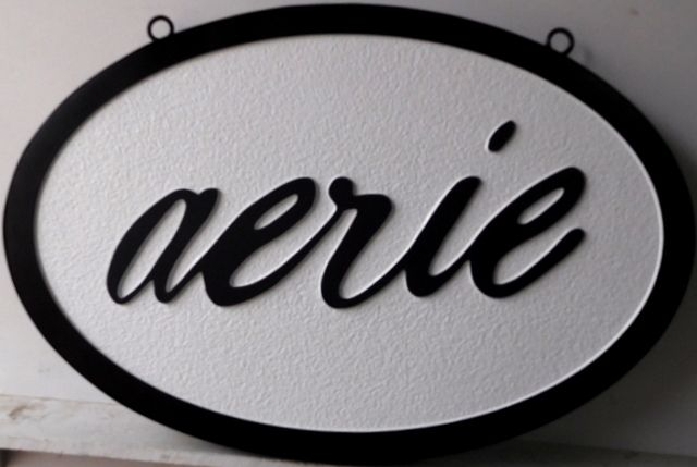 """SA28045 - Carved HDU Sign for the """"Aerie"""" Store."""