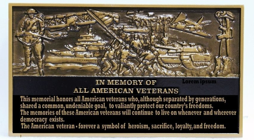 MA1003 - 3-D Bas-Relief Memorial Wall Plaque for all American Veterans