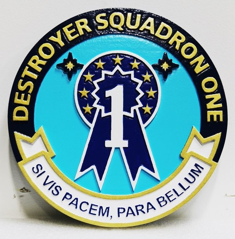 JP-1287 - Carved 2.5-D HDU Plaque of the Seal of Destroyer Squadron One, US Navy