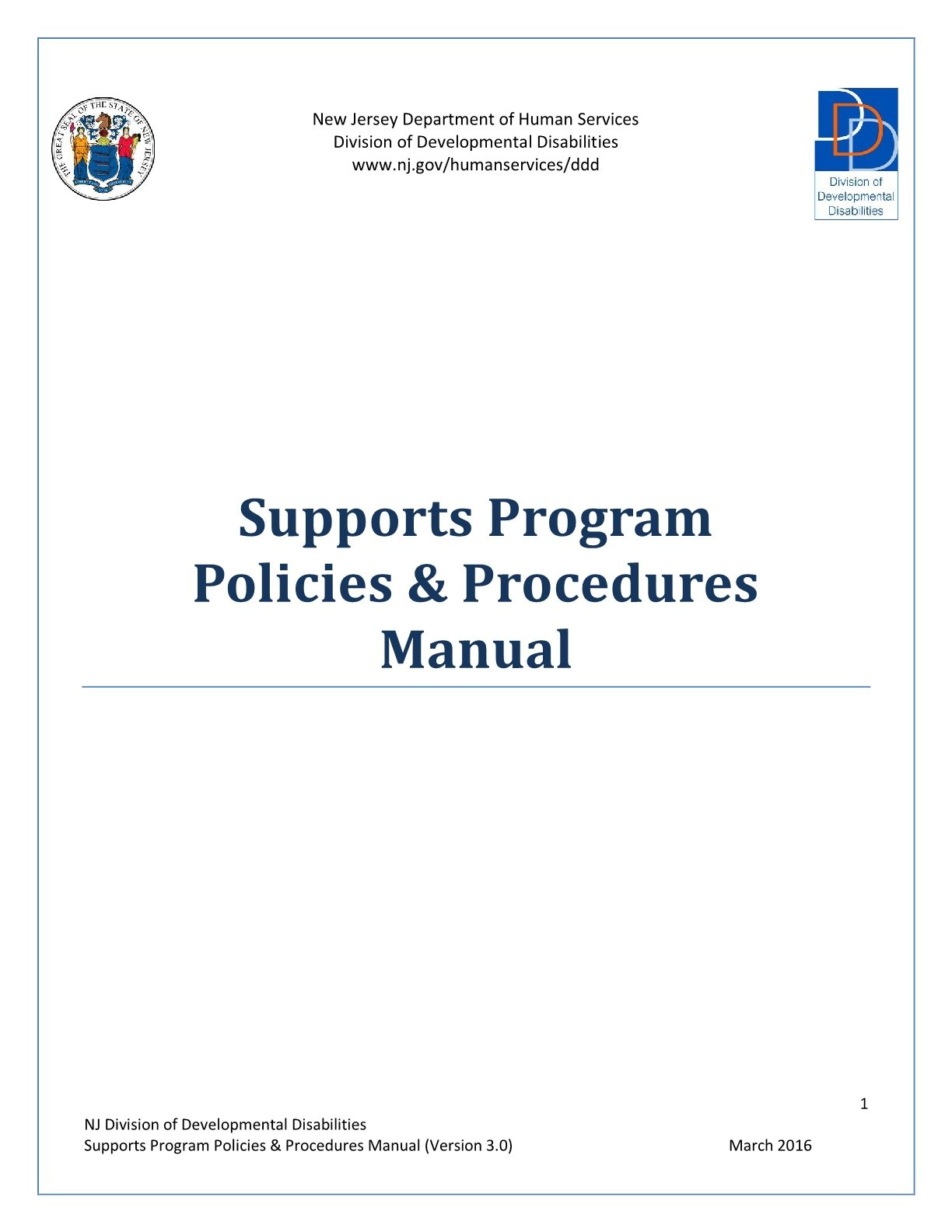Supports Program Policies & Procedures Manual