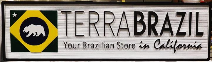 S28152 - Carved and Sandblasted Wood Grain Sign for the TerraBrazil Store, 2.5-D Artist-Painted