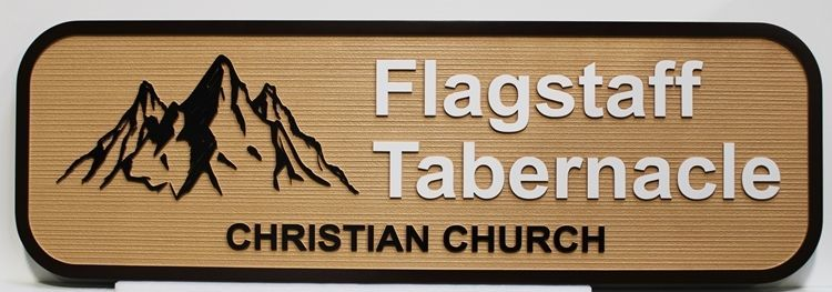 D13147 - Carved 2.5-D and Sandblasted Wood Grain HDU Sign   for the Flagstaff Tabernacle Christian Church, with Mountains as Artwork