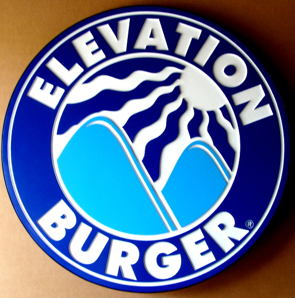"Q25804 - Carved HDU, High Elevation Restaurant Sign ""Elevation Burger"" Sign with Carved Mountains and Sun"
