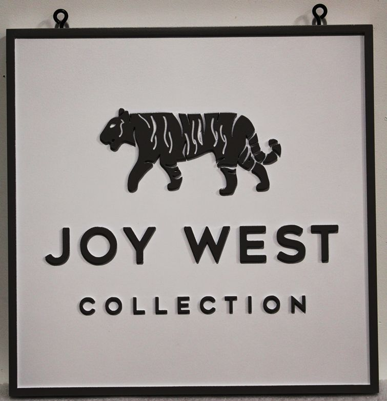 """SA28833 -  Carved HDU Sign for the """"Joy West"""" Company, with its Logo (a Tiger) as Artwork"""